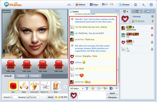 123 PPV Software Chat Software HTML Chat, Webcam Chat, HTML Chat, Live PPV Software, Video Chat