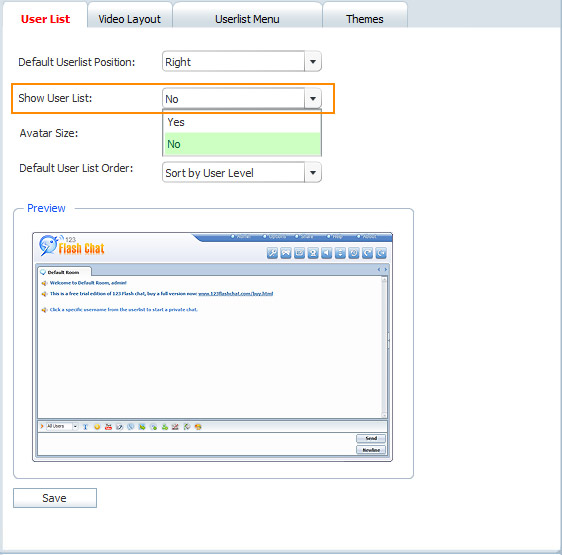 Display Userlist in 123FlashChat Admin Panel, Flash Chat, Flash Software, PHP Chat, HTML Chat, Chat App