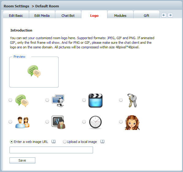 Specific Room Logo Setting in Admin Panel of 123 Flash Chat, Chat Software