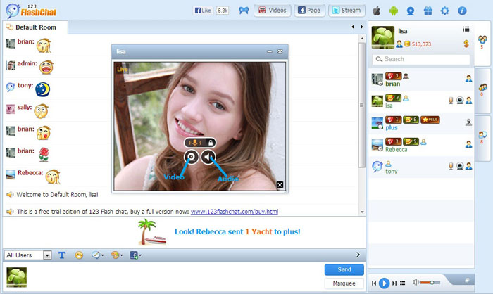 Video Window of 123FlashChat, Video Chat, Flash Chat, Chat Software, PHP Chat