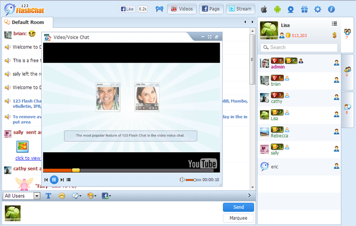 YouTube Video Message of 123 Flash Chat, Chat Software, Flash Chat, Video Chat, Text Chat, Chat App