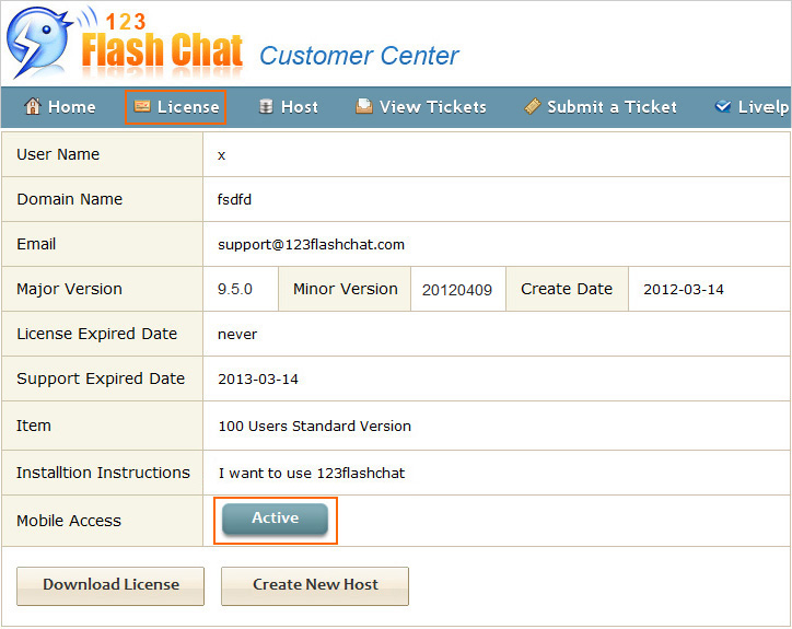 Hosting Users Get Mobile Chat ID, 123 Flash Chat